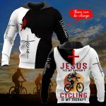 PERSONALIZED  Jesus is my savior Cycling is my therapy ALL OVER PRINTED SHIRTS