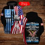 I am a navy veteran I love freedom personalized name ALL OVER PRINTED SHIRTS