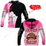 Jesus is my savior Sloths are my therapy personalized name ALL OVER PRINTED SHIRTS