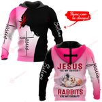Jesus is my savior Rabbits are my therapy personalized name ALL OVER PRINTED SHIRTS