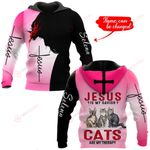 Jesus is my savior Cats are my therapy personalized name ALL OVER PRINTED SHIRTS
