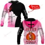 Jesus is my savior Pitbulls are my therapy personalized name ALL OVER PRINTED SHIRTS
