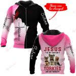 Jesus is my savior Yorkies are my therapy personalized name ALL OVER PRINTED SHIRTS