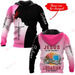Jesus is my savior Librarian is my therapy personalized name ALL OVER PRINTED SHIRTS