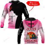 Jesus is my savior Chickens are my therapy personalized ALL OVER PRINTED SHIRTS