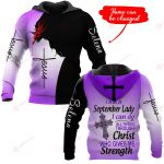 I am a September I can do all things through Christ who gives me strength personalized ALL OVER PRINTED SHIRTS