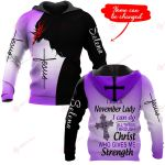 I am a November Lady I can do all things through Christ who gives me strength personalized ALL OVER PRINTED SHIRTS