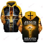 Jesus because of him heaven knows my namev ALL OVER PRINTED SHIRTS