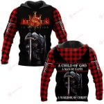 A child of God A man of Faith A warrior of Christ ALL OVER PRINTED SHIRTS PLAID HOODIE