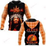 Jesus is my savior Violin is my therapy ALL OVER PRINTED SHIRTS PLAID HOODIE