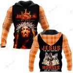 Jesus is my savior Horses are my therapy ALL OVER PRINTED SHIRTS PLAID HOODIE