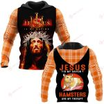 Jesus is my savior Hamsters are my therapy ALL OVER PRINTED SHIRTS PLAID HOODIE