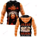 Jesus is my savior Goldens are my therapy ALL OVER PRINTED SHIRTS PLAID HOODIE