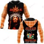 Jesus is my savior Crocheting is my therapy ALL OVER PRINTED SHIRTS PLAID HOODIE