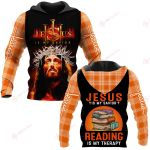 Jesus is my savior Reading is my therapy ALL OVER PRINTED SHIRTS PLAID HOODIE