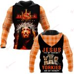 Jesus is my savior Yorkies are my therapy ALL OVER PRINTED SHIRTS PLAID HOODIE