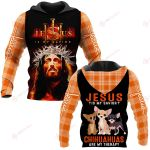 Jesus is my savior Chihuahuas are my therapy ALL OVER PRINTED SHIRTS PLAID HOODIE