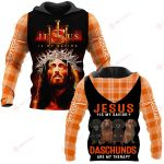 Jesus is my savior Daschunds are my therapy ALL OVER PRINTED SHIRTS PLAID HOODIE
