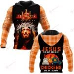 Jesus is my savior Chickens are my therapy ALL OVER PRINTED SHIRTS PLAID HOODIE