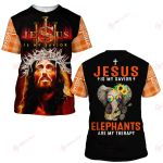 Jesus is my savior Elephants are my therapy ALL OVER PRINTED SHIRTS PLAID HOODIE