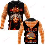 Jesus is my savior Sloths are my therapy ALL OVER PRINTED SHIRTS PLAID HOODIE
