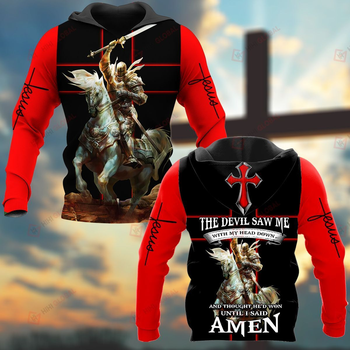 The Devil Saw Me With My Head Down And Thought He'd Won Until Said Amen Knight ALL OVER PRINTED SHIRTS