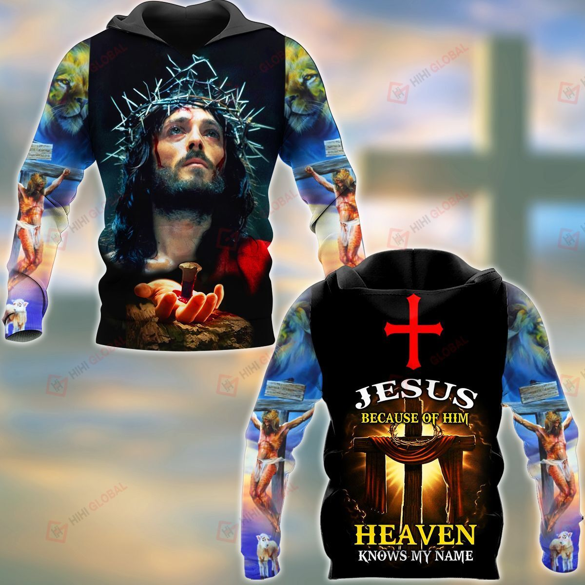 Jesus Because Of Him Heaven Knows My Name ALL OVER PRINTED SHIRTS