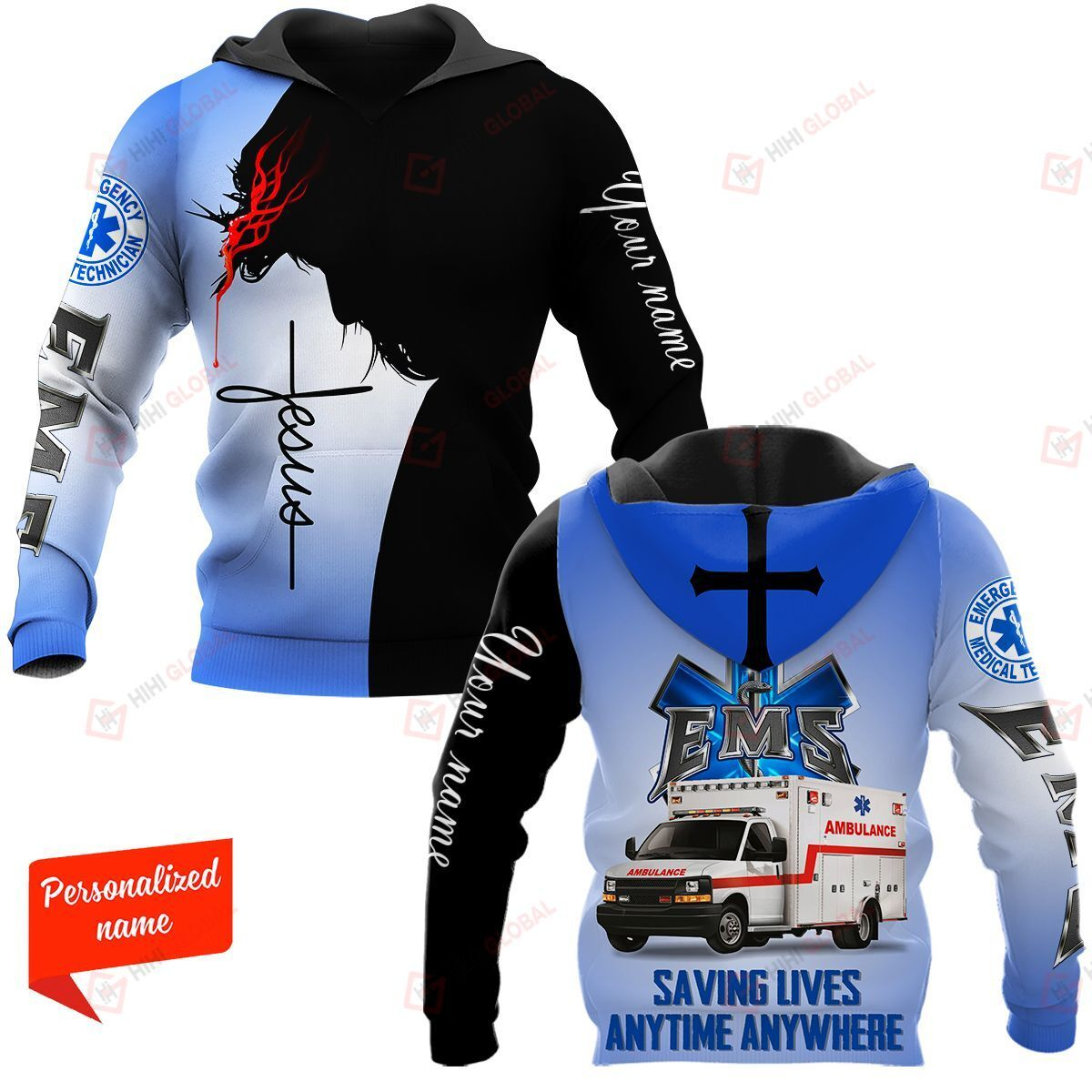 Saving Lives Anytime Anywhere EMS Paramedic Personalized ALL OVER PRINTED SHIRTS