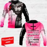 Daughter Of God Chosen + Treasured Created For A Purpose Set Apart + Redeemed Pursued + Forgiven Kingdom Girl Personalized ALL OVER PRINTED SHIRTS