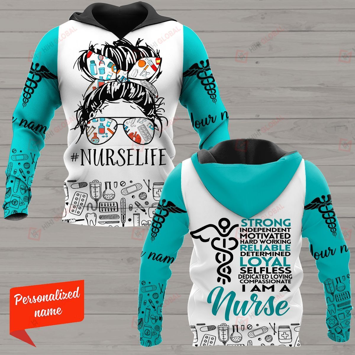Strong Independent Motivated Hard Working Reliable Determined Loyal Selfless Dedicated Loving Compassionate I Am A Nurse Nurse Personalized ALL OVER PRINTED SHIRTS