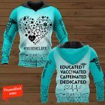 Educated Vaccinated Caffeinated Dedicated Personalized Nurse ALL OVER PRINTED SHIRTS