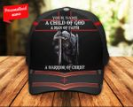 A Child of God A Man of Faith a Warrior of Christ Knight Christian Classic 3d Cap Personalized Name ALL OVER PRINTED