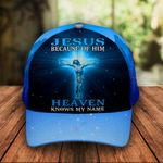 Jesus because of Him Heaven Knows My Name Classic 3d Cap ALL OVER PRINTED