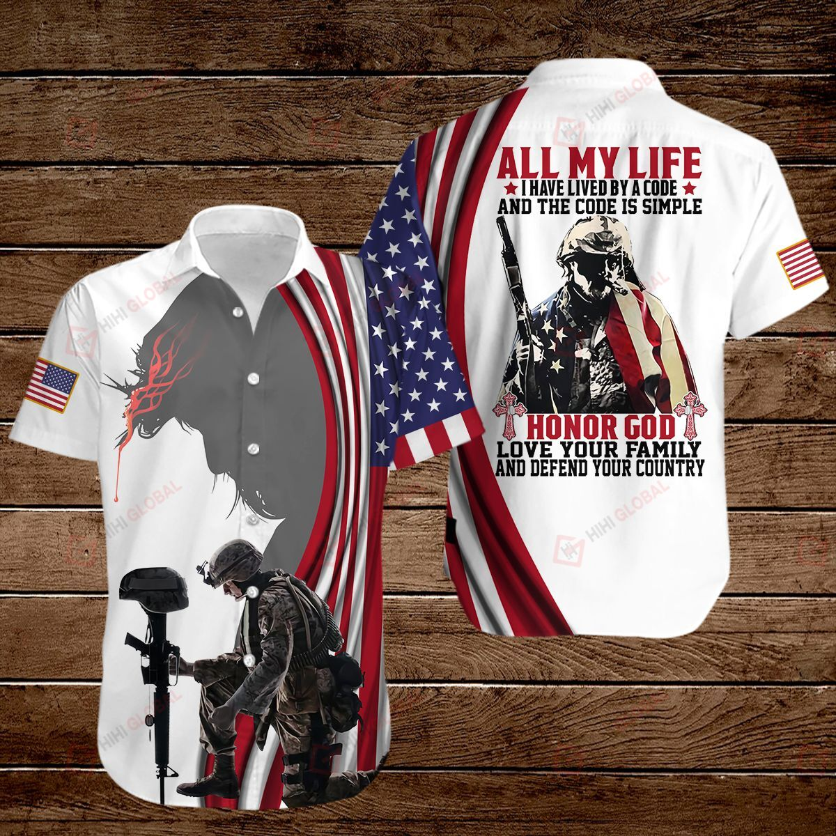 All my life honor God love your family and defend your country American Flag 3D Shirt
