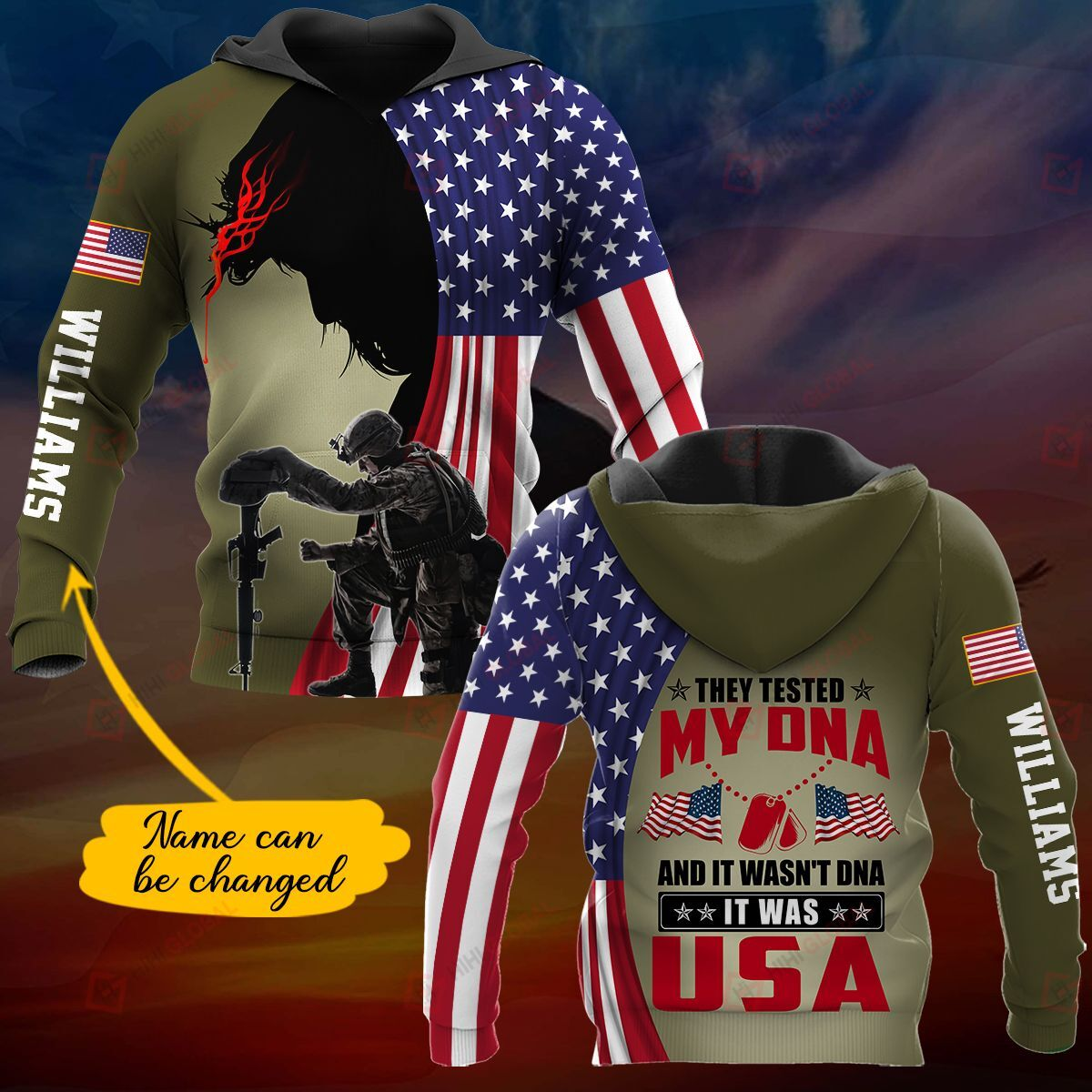 Custom Name 3D All Over Printed Shirt They tested my DNA It was USA - dark version
