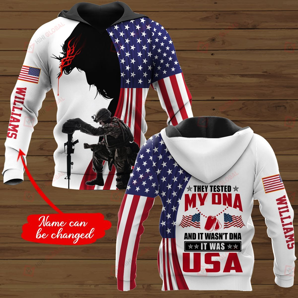 Custom Name 3D All Over Printed Shirt They tested my DNA It was USA - white version