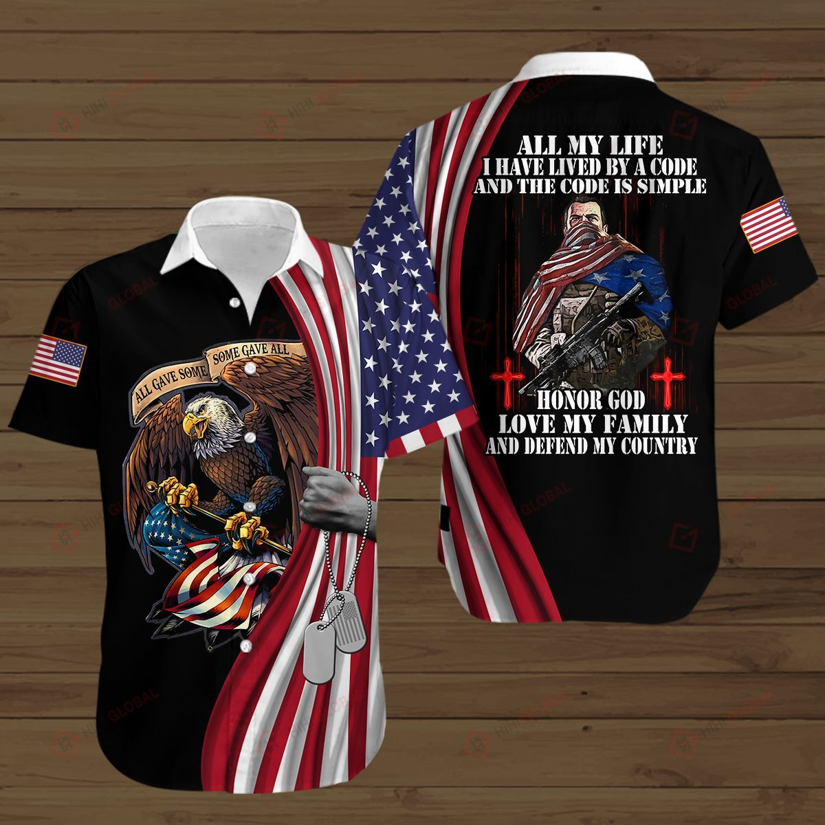 American Soldier Lived By A Code Honor God Love My Family and Defend My Country Black 3D Shirt