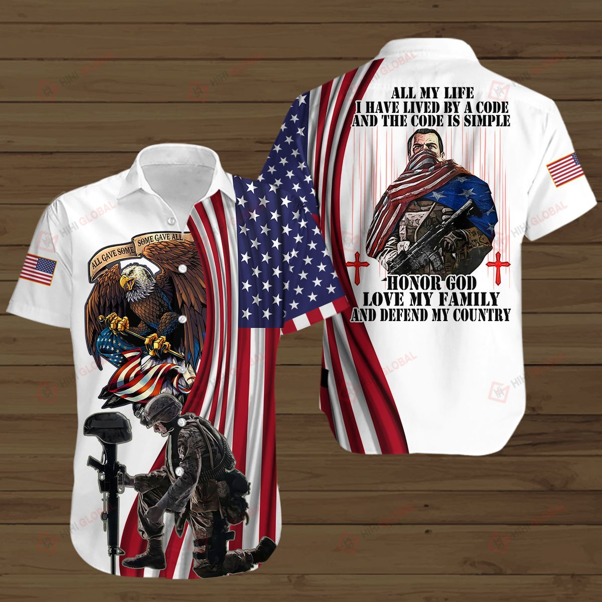 American Soldier Honor God Lived By A Code and Code is Simple 3D Shirt