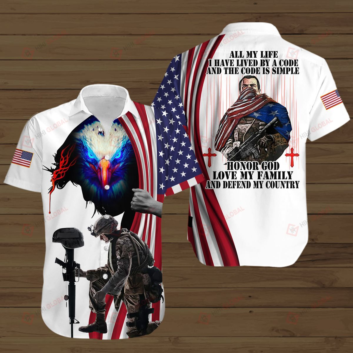 American Soldier Lived By A Code Honor God Love My Family and Defend My Country White 3D Shirt