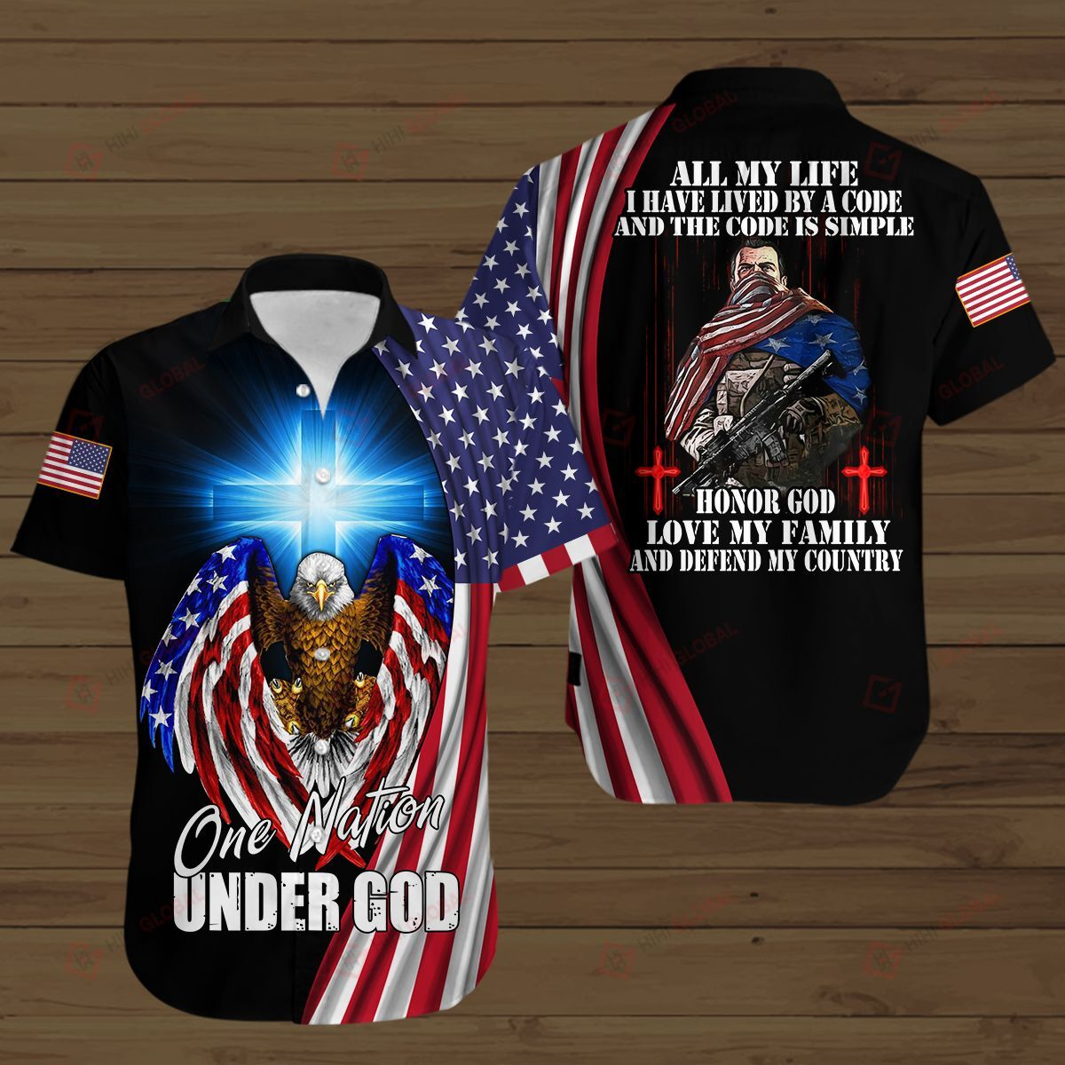 One Nation Under God American Soldier Lived By a Code and Code is Simple 3D Shirt