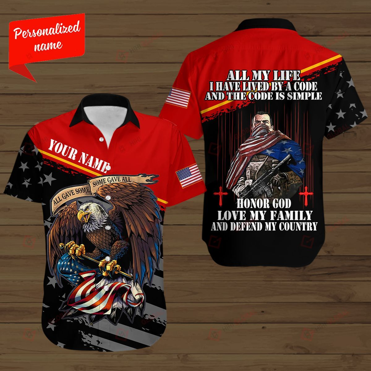 Personalized American Soldier Love My Family and Defend My Country Eagle 3D Shirt