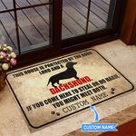 This House is protected by God and a Dachshund Personalized Doormat BIJ21051006