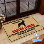 This house is protected by Boston Terrier Personalized Doormat BIJ21051301
