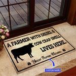 A Farmer With Diesel And Cow Crap Personalized Doormat BIJ21052403