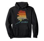 Vintage Outline Alaska Retro Sunset Gift Pullover Hoodie