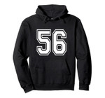Number 56 Birthday Gift Sports Player Team Numbered Jersey Pullover Hoodie