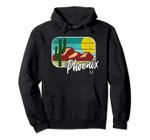 Vintage Phoenix AZ Desert Cactus Distressed Retro Pullover Hoodie