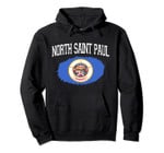 NORTH SAINT PAUL MN MINNESOTA Flag Vintage Sports Men Women Pullover Hoodie
