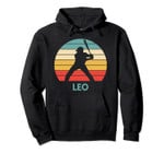 Leo Name Gift Personalized Baseball Pullover Hoodie