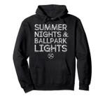 Summer Nights Ballpark Lights Baseball Softball Player Gifts Pullover Hoodie